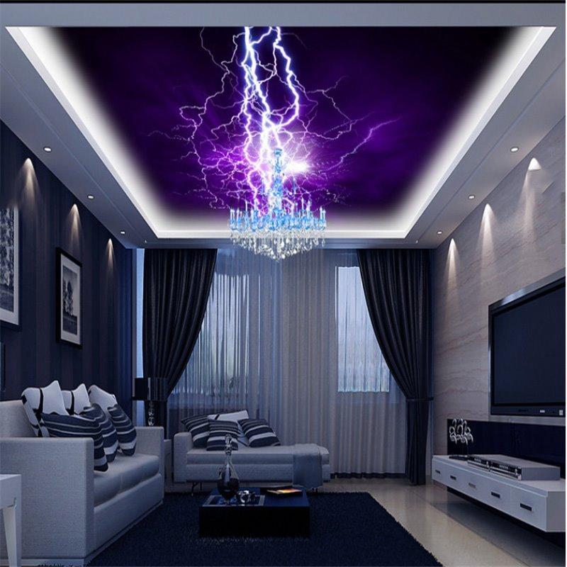 3D Purple Background with Lightnings Printed PVC Waterproof Sturdy Eco-friendly Self-Adhesive Ceiling Murals
