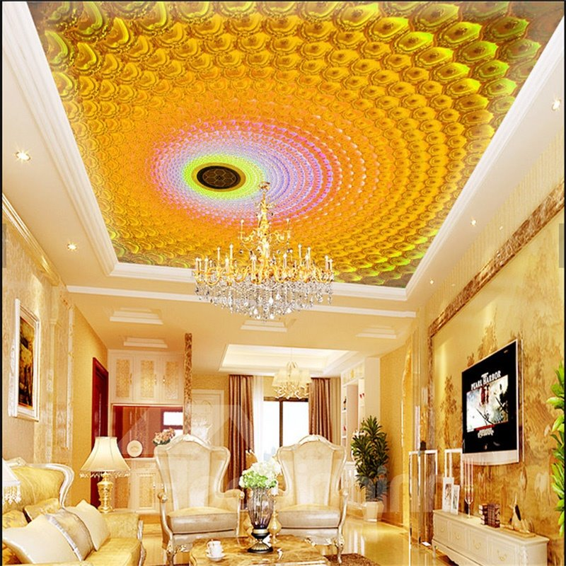 3D Yellow Whirlpools Printed PVC Waterproof Sturdy Eco-friendly Self-Adhesive Ceiling Murals