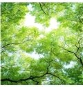 3D Green Trees Pattern PVC Waterproof Sturdy Eco-friendly Self-Adhesive Ceiling Murals