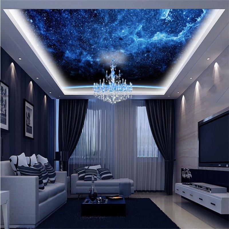 3D Blue Galaxy Printed PVC Waterproof Sturdy Eco-friendly Self-Adhesive Ceiling Murals