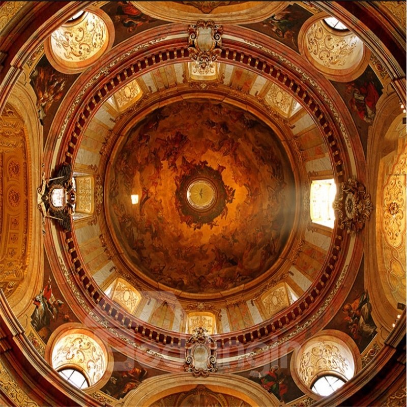 3D Golden Church Ceiling Printed PVC Waterproof Sturdy Eco-friendly Self-Adhesive Ceiling Murals