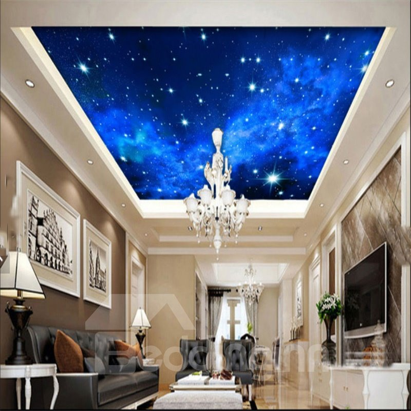 3D Blue Space Printed PVC Waterproof Sturdy Eco-friendly Self-Adhesive Ceiling Murals