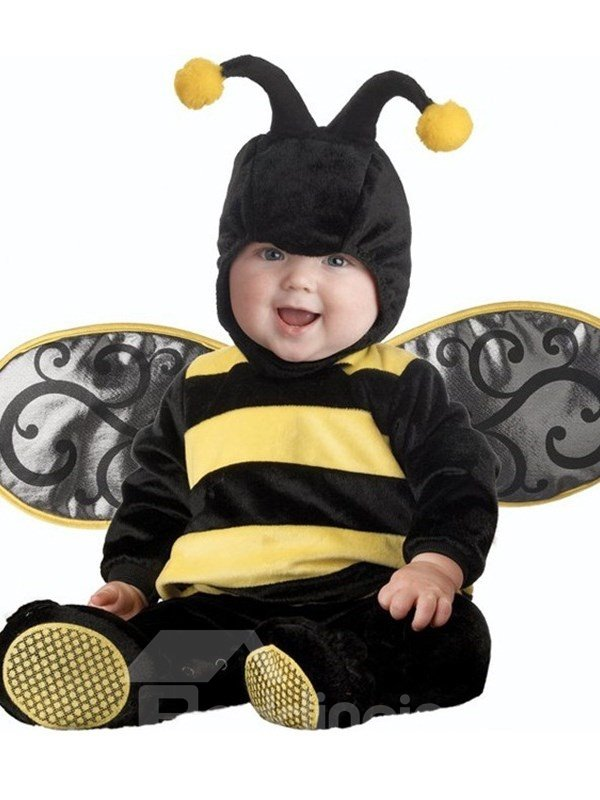 Bee Shaped Wings Decoration Polyester Black Baby Costume