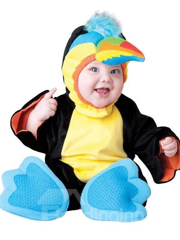 Parrot Shaped Sharp Beak Decoration Polyester Black Baby Costume