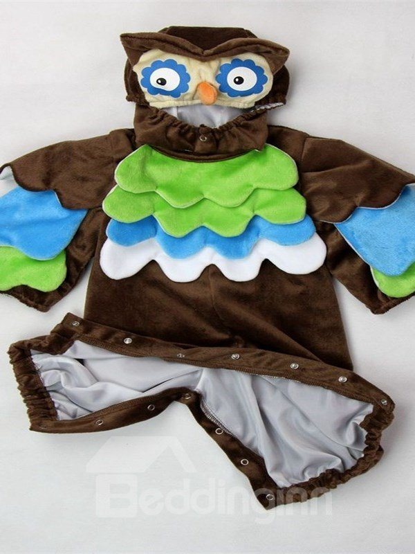 Owl Shaped Feather Decoration Polyester Brown Baby Costume