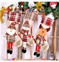 Grid Classic Non-Woven Fabric and Wool Beige Christmas Stocking
