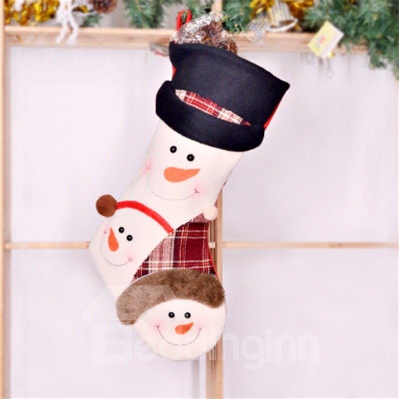 Matching Classic Non-Woven Fabric and Wool White Christmas Stocking
