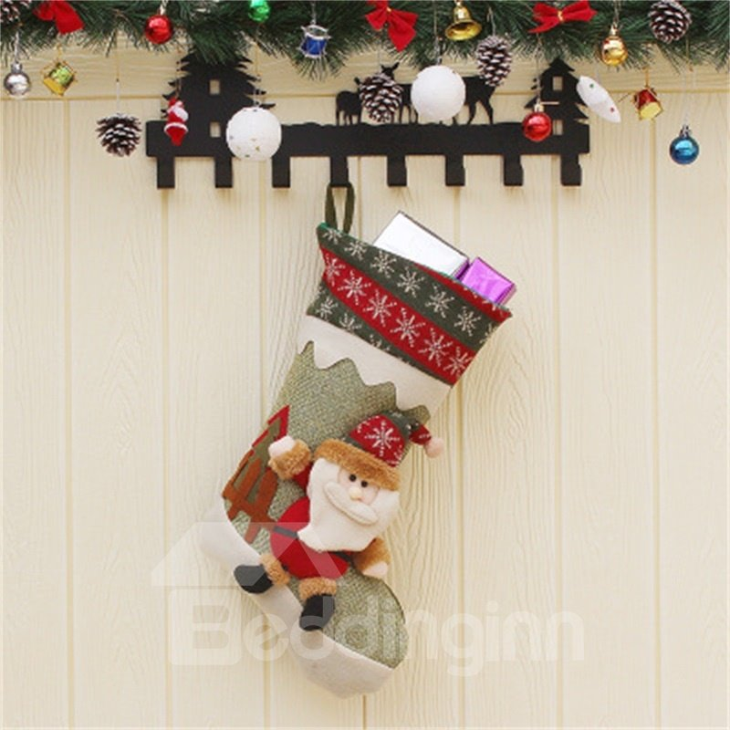 Santa and Snowman Classic Non-Woven Fabric and Wool Christmas Stocking
