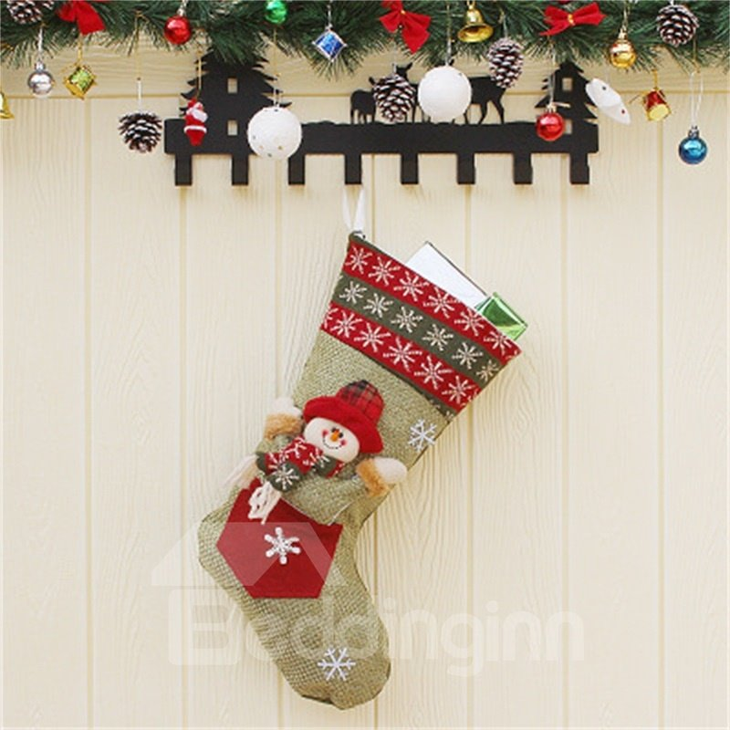 Happy Santa Decoration Classic Non-Woven Fabric and Wool Christmas Stocking