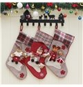 Grid Classic Non-Woven Fabric and Wool Gray Christmas Stocking