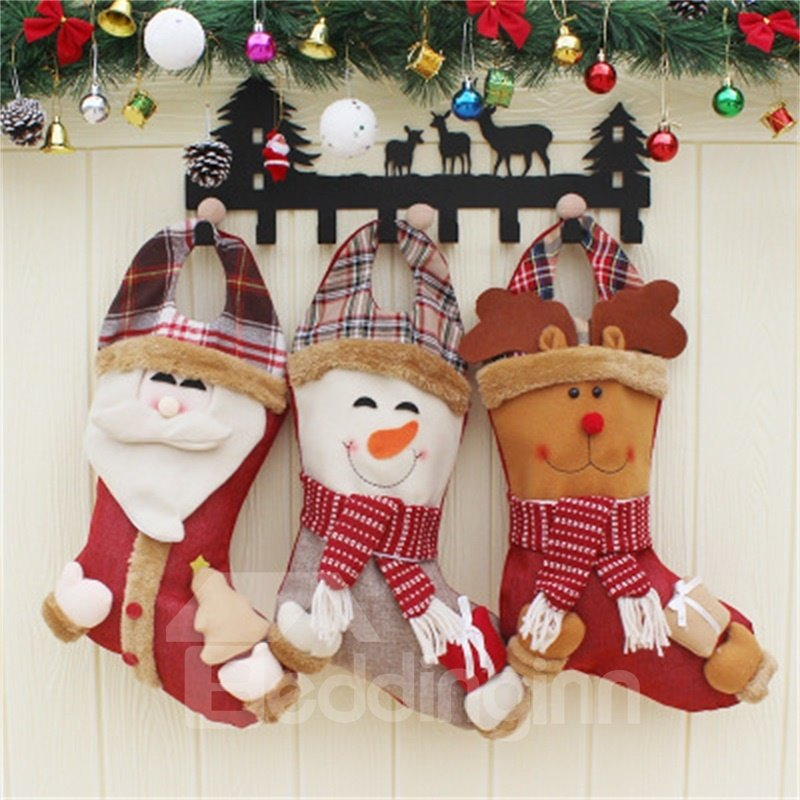 Smiling Santa Deer and Snowman Non-Woven Fabric and Wool Red Christmas Stocking