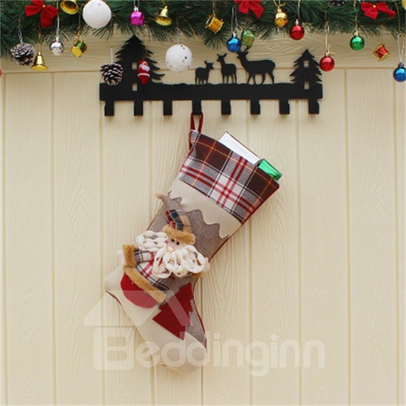 Classic Non-Woven Fabric and Wool Red and Grid Christmas Holiday Stocking