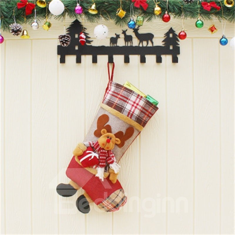 Grid Classic Non-Woven Fabric and Wool Red Christmas Stocking