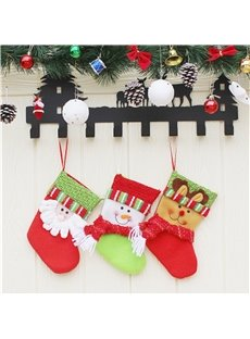 Stripes Decoration Classic Non-Woven Fabric and Wool Christmas Stocking