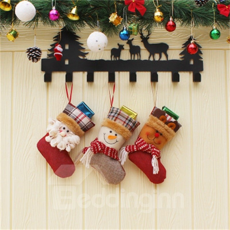 Grid and Snowman Decoration Classic Non-Woven Fabric and Wool Christmas Stocking