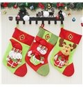 Classic Non-Woven Fabric and Wool Green and Red Christmas Stocking