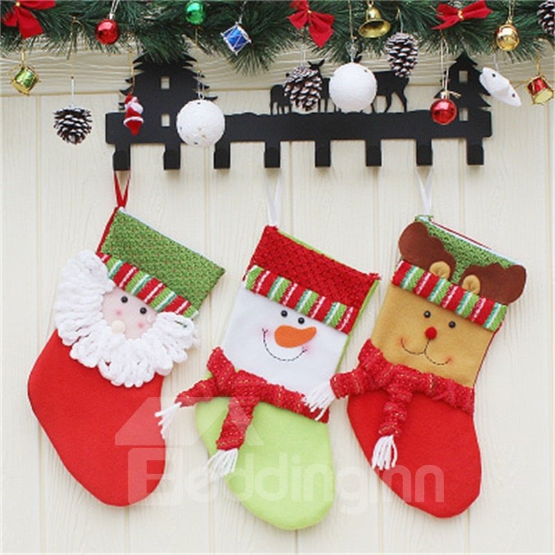 Santa Snowman and Deer Decoration Classic Non-Woven Fabric and Wool Christmas Stocking