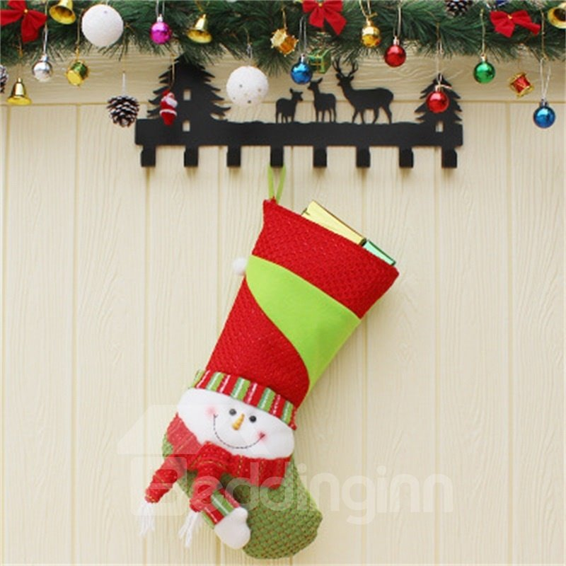Classic Non-Woven Fabric and Wool Christmas Holiday Stocking