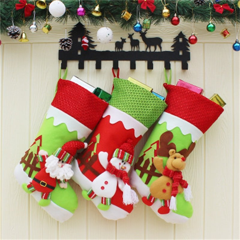 Classic Non-Woven Fabric and Wool Christmas Gifts Stocking
