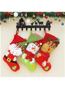 Santa and Snowman Decoration Classic Non-Woven Fabric and Wool Red Christmas Stocking