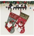 Santa Decoration Classic Non-Woven Fabric and Wool Red Christmas Stocking