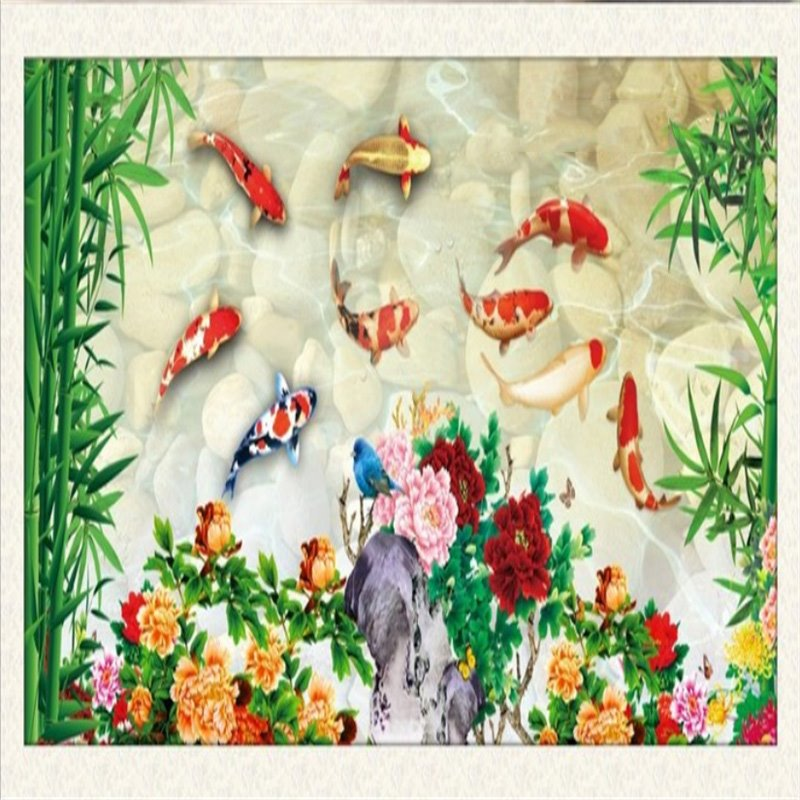 3D Fishes Flowers Bamboos Printed PVC Waterproof Sturdy Eco-friendly Self-Adhesive Ceiling Murals