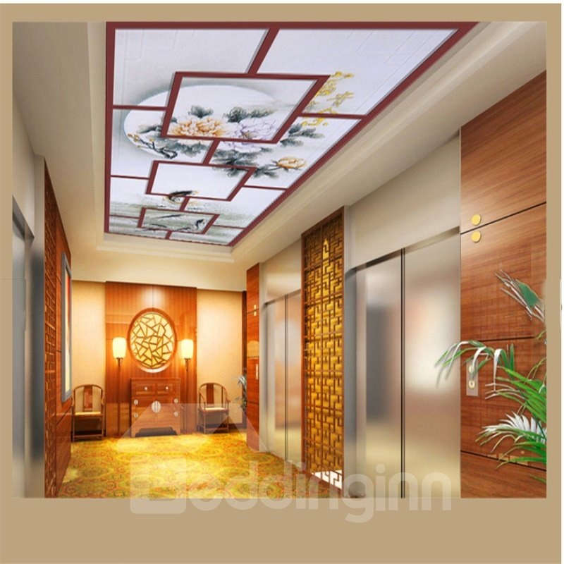 3D Fishes Flowers PVC Waterproof Sturdy Eco-friendly Self-Adhesive Ceiling Murals