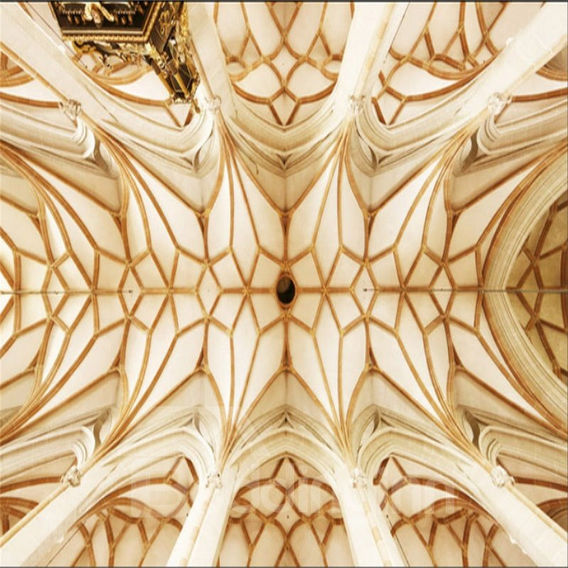 3D Church Ceiling PVC Waterproof Sturdy Eco-friendly Self-Adhesive White Golden Ceiling Murals