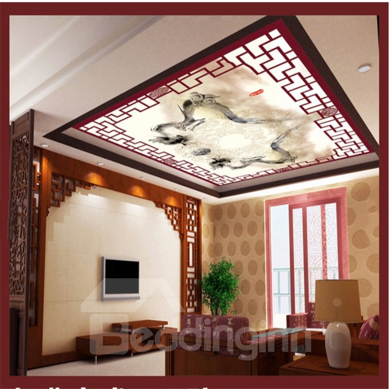 3D Dragons Playing with Pearl PVC Waterproof Sturdy Eco-friendly Self-Adhesive Ceiling Murals