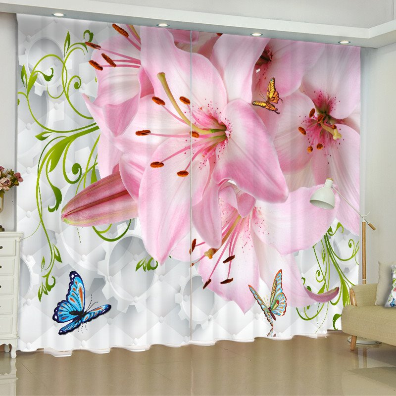 3D Romantic Pink Flowers Printed 2 Panels Custom Curtain for Living Room