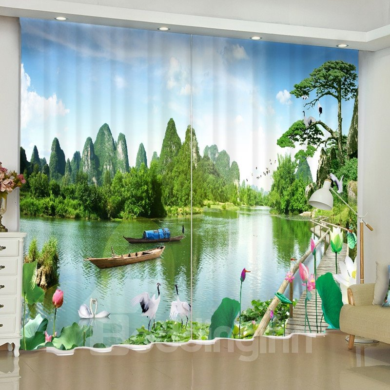 3D Green Mountains and Water Printed Natural Scenery 2 Panels Custom Window Drape
