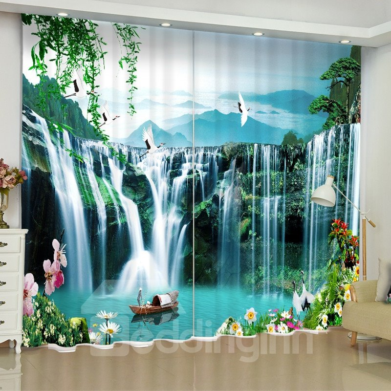 3D Rolling Waterfalls and Boat Printed Pastoral Scenery 2 Panels Custom Curtain