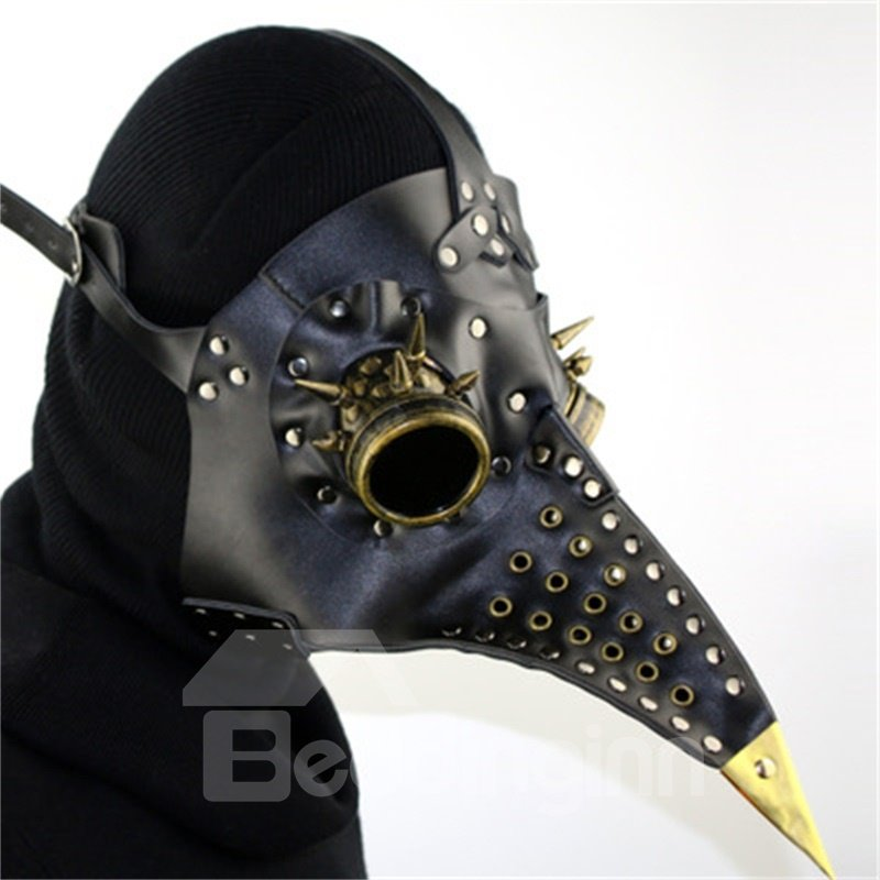 Hallowmas Scary Real PU and Metal Accessories Plague Doctor Bird Mask Beak Doctor