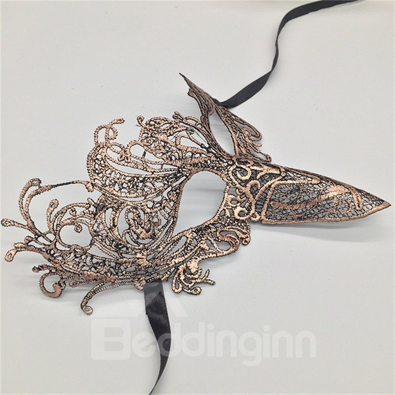 Peacock Tail Bird Beak Hollow Lace Halloween Masquerade Mask Blue