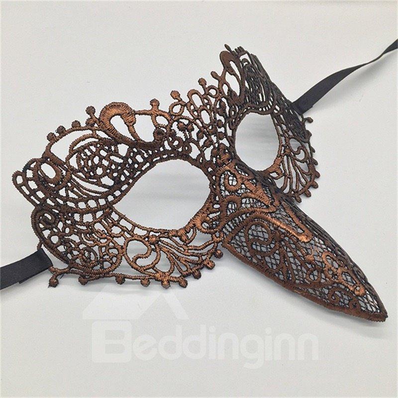 Woodpecker Beak Hollow Lace Halloween Masquerade Mask Grey