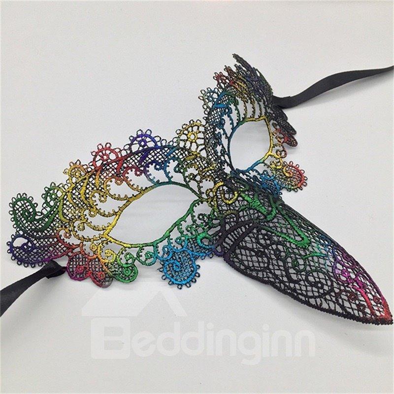 Bird Beak Hollow Lace Halloween Masquerade Mask Golden