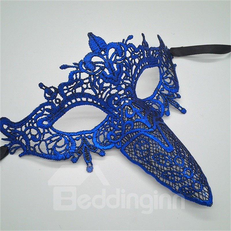 Cupid Beak Hollow Lace Halloween Masquerade Mask Blue