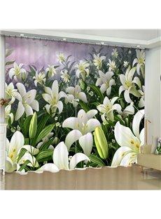 3D Elegant Beige Flowers Printed Fresh and Pastoral Style Custom Living Room Curtain