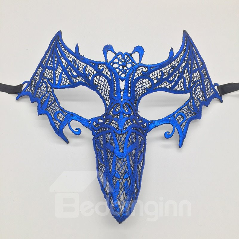 Bat Beak Hollow Lace Halloween Masquerade Mask Pink