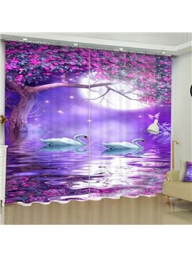 3D White Gooses and Purple Blooming Trees Printed Romantic Style Custom Curtain