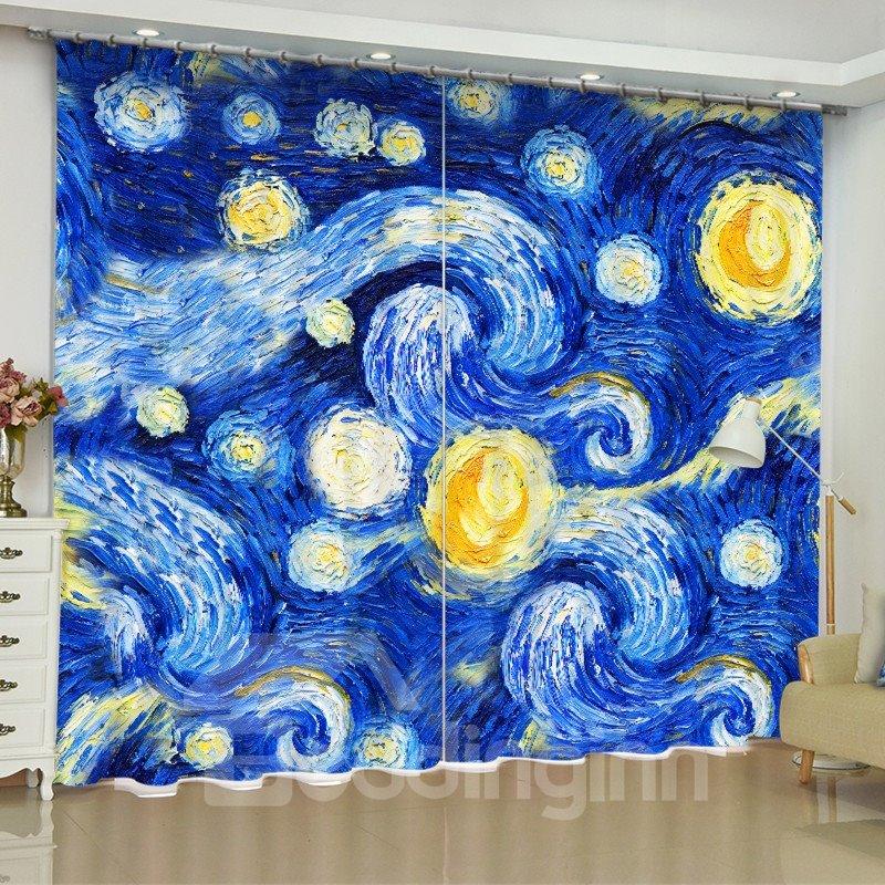 Blue Abstract Eddies Printed 2 Panels Decorative and Creative Custom Living Room Curtain
