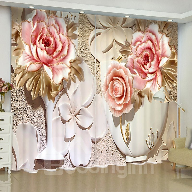 3D Pink Flowers Printed Artificial Work 2 Panels Decorative Living Room Curtain