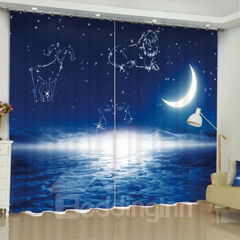 3D Bright Moon with Stars and Constellations Printed Custom Bedroom Curtain