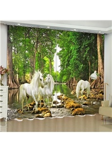3D White Unicorns and Green Forest and Limpid River Printed 2 Panels Custom Curtain