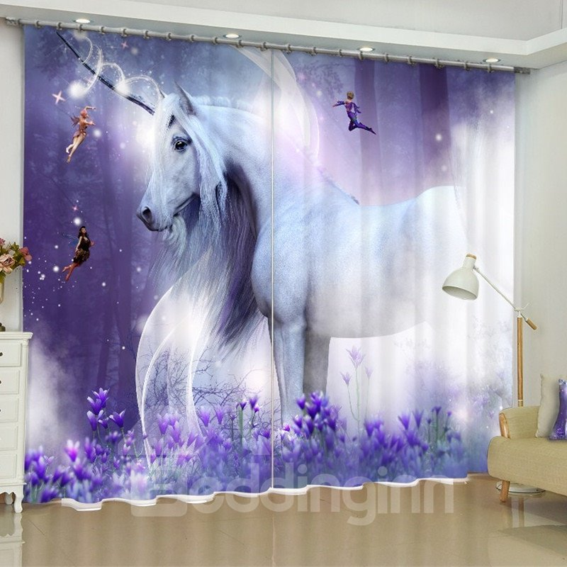 3d White Standing Unicorn Printed Dreamy Purple 2 Panels Custom