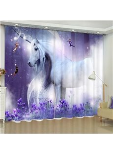 White Unicorn Printed Dreamy Purple 2 Panels Custom Bedroom 3D Curtain