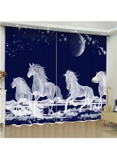 3D White Running Unicorns Printed Polyester Cotton Custom Living Room Curtain