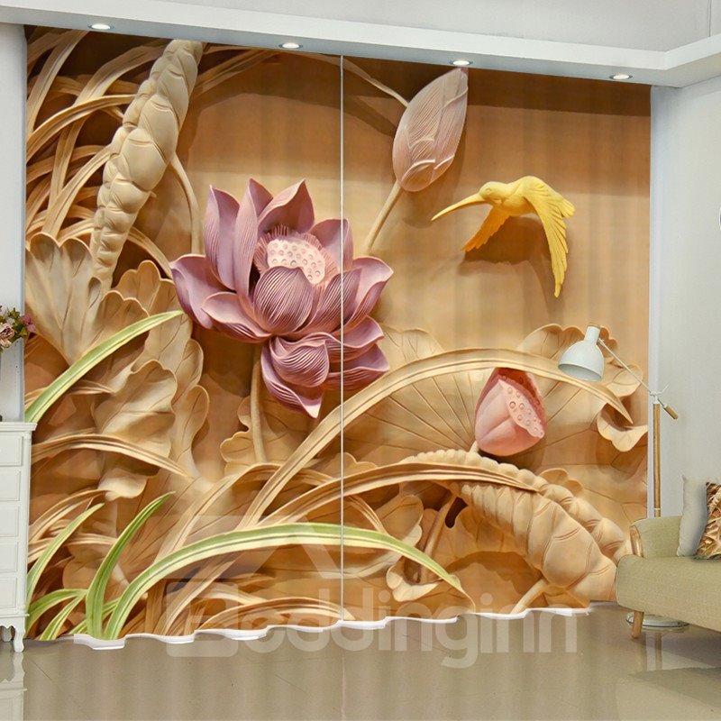 3d Artificial Carving Pink Lotus Bird Printed Polyester Pic
