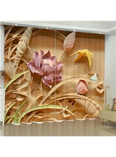 3D Artificial Carving Pink Lotus and Lovely Bird Printed Polyester Living Room Curtain