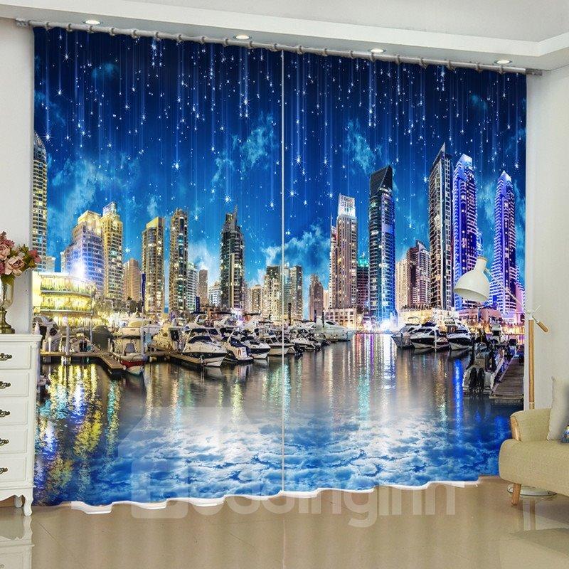Romantic and Modern City Printed Night Beauty 2 Panels Custom Living Room Curtain